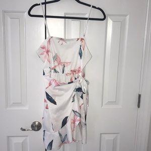 Tropical white wrap dress